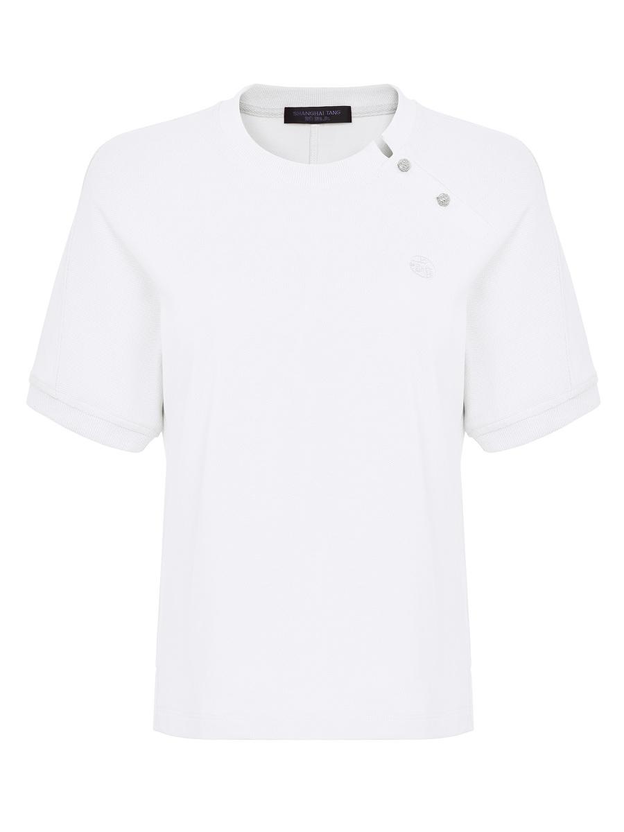 Side Collar Crew Neck Polo Shirt
