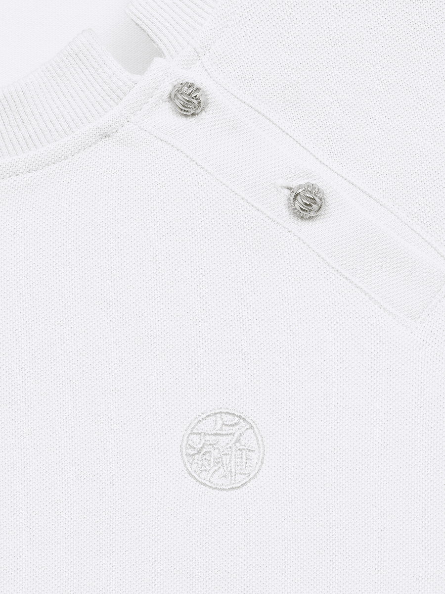 Side Collar Crew Neck Polo Shirt