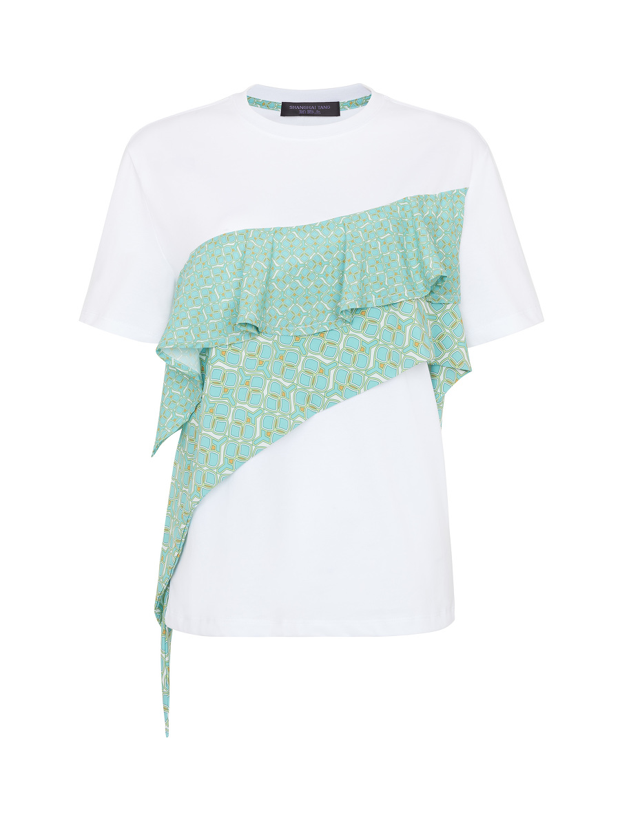 Ruffled Geometric Sprout Print T-Shirt