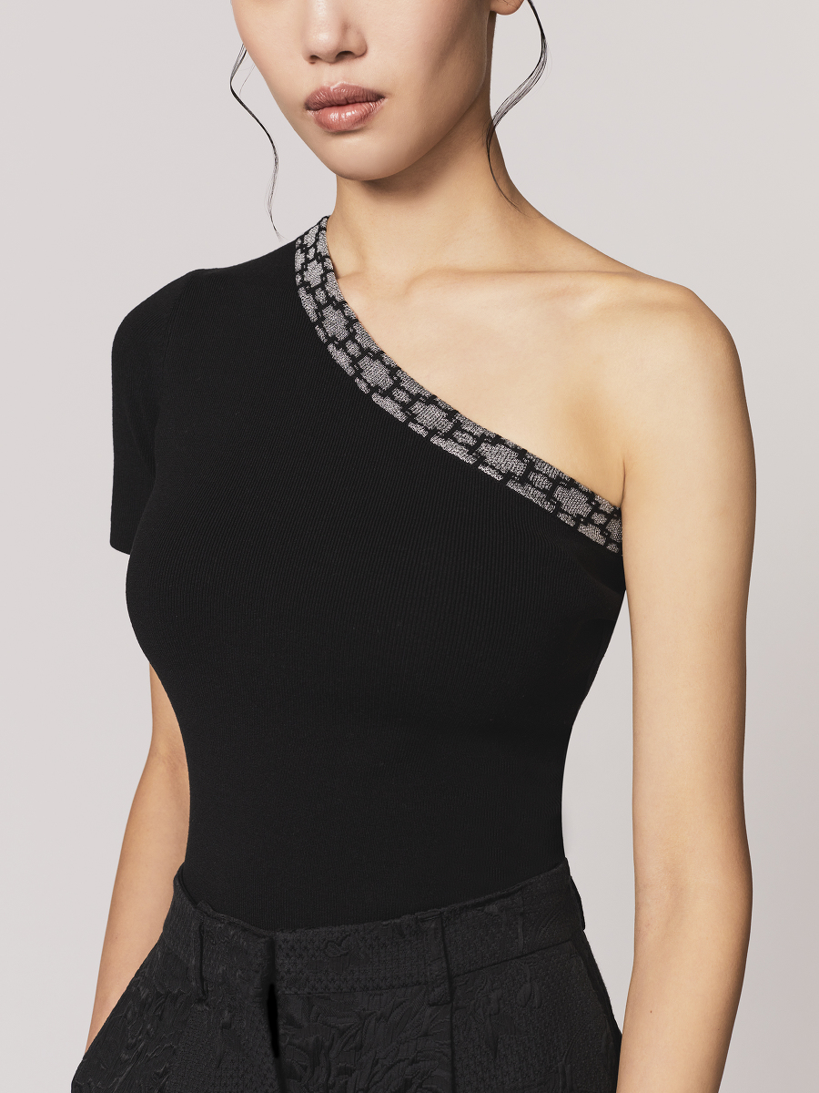 Window Jacquard One-Shoulder Silk-Cotton Jersey Top