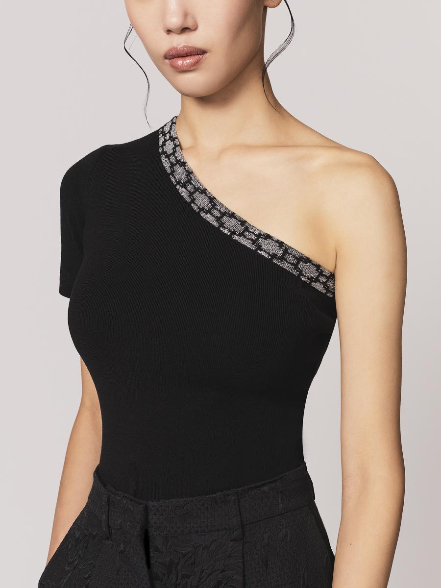 Window Jacquard One-Shoulder Silk-Cotton Jersey Top