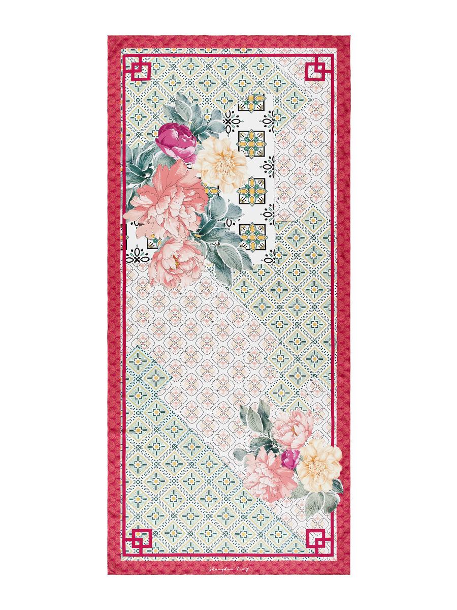 Peony Floral and Geometric Print Silk Long Scarf