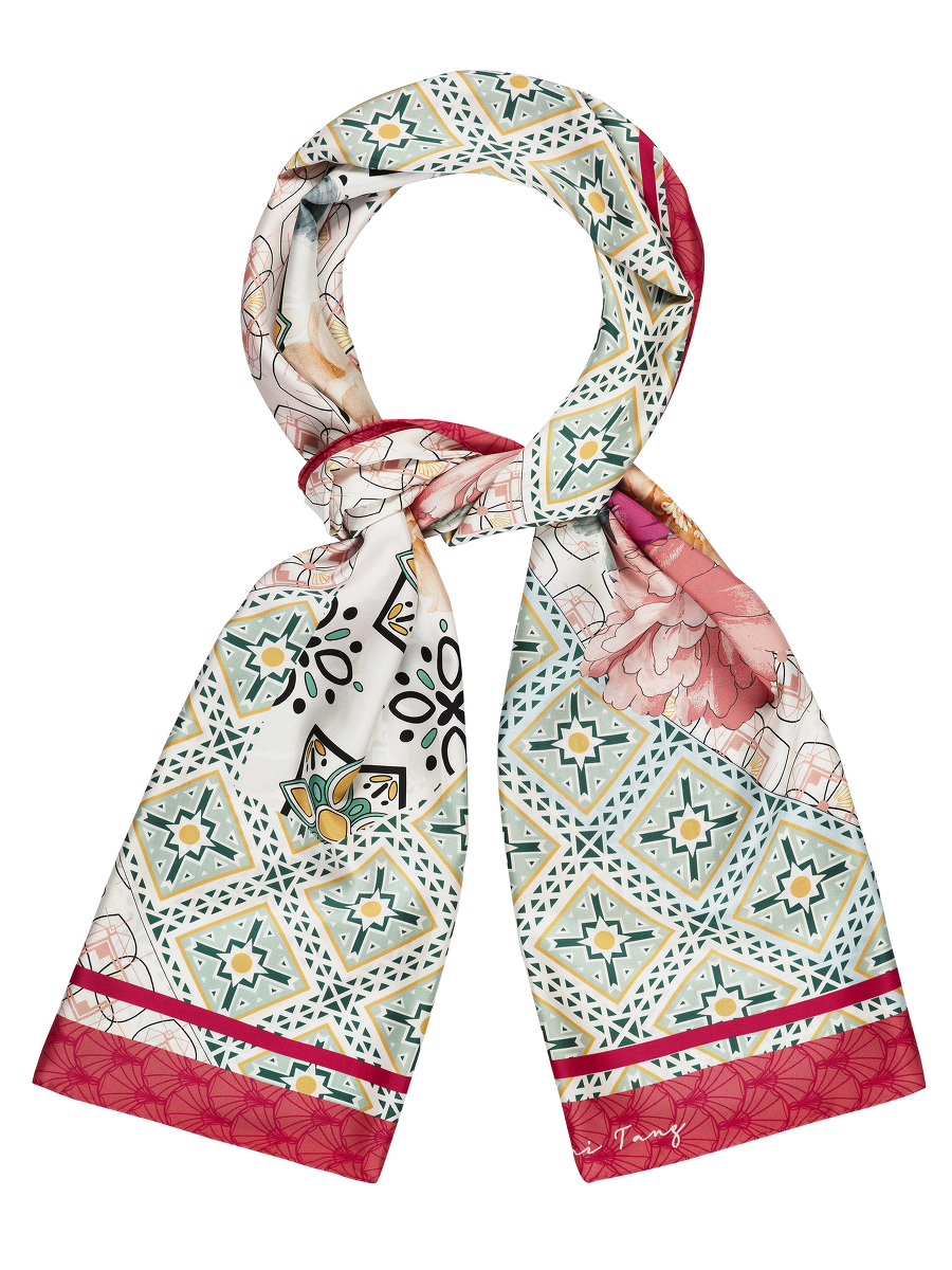 Peony Floral and Geometric Print Silk Long Scarf